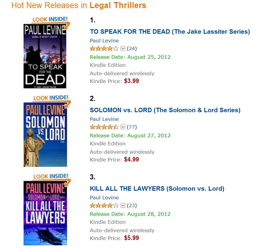Bestselling Legal Thrillers, Sept. 2012