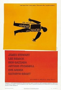 "Film poster for ""Anatomy of a Murder,"" perhaps the greatest legal thriller ever filmed."